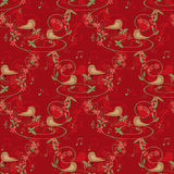 Seamless pattern with birds on red Royalty Free Stock Photo