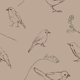 Seamless pattern with birds silhouette Stock Photography