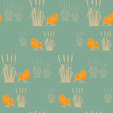 Seamless pattern with birds silhouettes. Stock Photography