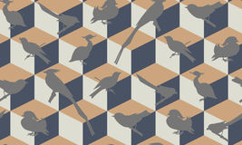 Seamless pattern with birds silhouettes. Royalty Free Stock Photos