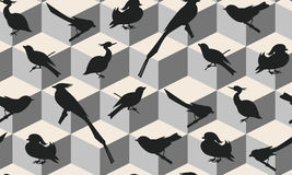 Seamless pattern with birds silhouettes. Seamless pattern with birds can be used as background, fabric print, texture, wrapping paper, web page backdrop Royalty Free Stock Images