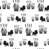Seamless pattern with birds silhouettes. Stock Image