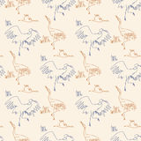 Seamless pattern with birds. Sketch draw by hand. Contour line stock illustration