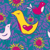 Seamless pattern with birds and sun flowers on a bright backgrou Royalty Free Stock Photos