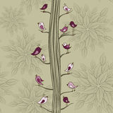 Seamless pattern with birds on a tree Royalty Free Stock Photography