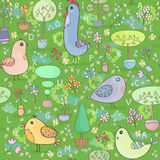 Seamless pattern with birds, trees and flowers Stock Photography