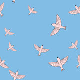 Seamless pattern with birds in trendy colors rose quartz and serenity Royalty Free Stock Photo
