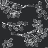 Seamless pattern with birds and willow branches on black background. Hand-drawn vector Illustration. Spring background.
