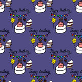 Seamless pattern with birthday cake, pennant and balloon Stock Images