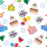 Seamless pattern with birthday decorations. Decorative background with illustration of gifts and cake stock illustration