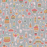 Seamless pattern with Birthday elements on grey background Stock Photo