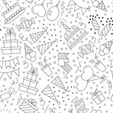 Seamless pattern birthday. Line style. Vector illustration Royalty Free Stock Photos