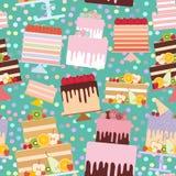 Seamless pattern Birthday, valentine`s day, wedding, engagement. Set sweet cake, Cake Stand, fresh fruits berries, chocolate icin stock illustration