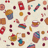 Seamless pattern with biscuits, jam and tea Stock Photo