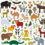 Seamless pattern bison bat fox wolf elk horse cock camel partridge seal Walrus goats Polar bear Eagle bull raccoon snake sheep pan. Da leopard Brown bear deer Royalty Free Stock Photo