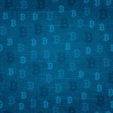 Seamless pattern - bitcoin on the background of program code Royalty Free Stock Photos