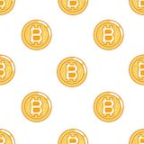 Seamless pattern bitcoin coin technology digital money internet currency flat design vector illustration Royalty Free Stock Photos