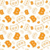 Seamless Pattern With Bitcoins Signs On White Background  Royalty Free Stock Photos