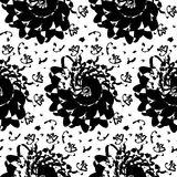 Seamless pattern with black abstract ornament Stock Photo
