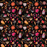 Seamless pattern on the black background Stock Photos