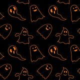 Seamless pattern black background with orange endless ghost on halloween festive. Seamless pattern black background with orange endless ghost on halloween Royalty Free Stock Image