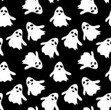 Seamless pattern black background with white endless ghost on halloween festive. Seamless pattern black background with white endless ghost on halloween festive Stock Photo