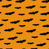 Seamless pattern with black bats on white background. Halloween design concept. Vector illustration Stock Images