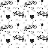 Seamless pattern with black bicycles tandem, roses, hearts and text You and Me on white background. Stock Image