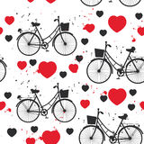 Seamless pattern black bike and red heart on white background. Vector Royalty Free Stock Photo
