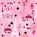 Seamless pattern with black birds silhouettes (sparrows). And town landscape with Effel Tower on a pink floral background.  Ready to use as swatch Royalty Free Stock Images