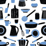 Seamless pattern with black and blue kitchen utensils, tableware, dishes and tools against white background. Vector. Illustration in trendy style for fabric Royalty Free Stock Photo