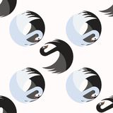 Seamless pattern with black and blue swans together turning around around vector illustration