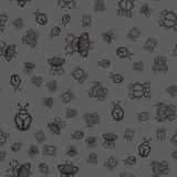 Seamless pattern with black bugs Stock Image