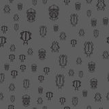 Seamless pattern with black bugs Stock Photos