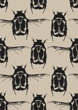 Seamless pattern with black bugs. Seamless pattern with a black bugs on a beige background. Can be used as wallpaper, wrapping paper, print for textiles Stock Images