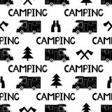 Seamless pattern with black car, ax ,fir-tree and words camping. On the white background. Vector illustration Royalty Free Stock Images