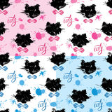 Seamless pattern with black cat heads and blots in grunge style. Stock Photos