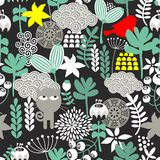 Seamless pattern with black cat. Royalty Free Stock Image