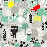 Seamless pattern with black cat hunting. Royalty Free Stock Images