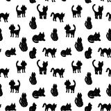 Seamless pattern Black cats silhouettes on white background. vector Royalty Free Stock Photos
