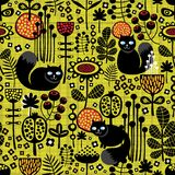 Seamless pattern with black cats. Royalty Free Stock Image