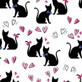 Seamless Pattern Black Cats With Hearts On A White Background Stock Photography
