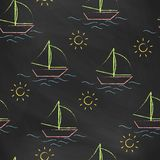 Seamless pattern black chalk board with color children's chalk drawings. Hand-drawn style. Royalty Free Stock Images