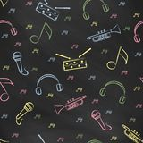 Seamless pattern black chalk board with color children's chalk drawings. Hand-drawn style. Stock Image