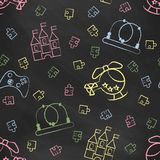 Seamless pattern black chalk board with color children's chalk drawings Stock Photos