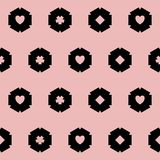 Abstract black circle pattern. Seamless pattern with black circles on pink background Stock Photos