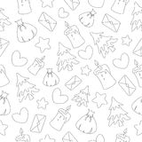 Seamless pattern of black contours for a Christmas theme. White background. Cartoon style Stock Photos