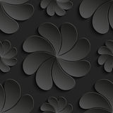 Seamless pattern black 3d paper flower, circle, 3D wallpapers Stock Photography