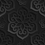 Seamless pattern black 3d paper mandala, lace element, 3D wallpapers Royalty Free Stock Photography