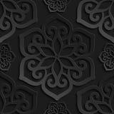 Seamless pattern black 3d paper mandala, lace element, 3D wallpapers.  Vector Illustration